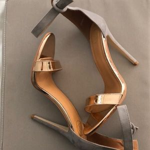 Misguided Gray suede and gold patent leather heels
